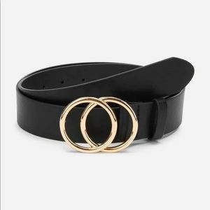 Double circle gold black vegan leather belt